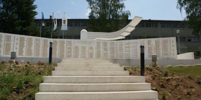 War memorial, Safvet-bega Bašagića Street, Zavidovic town centre, central Bosnia