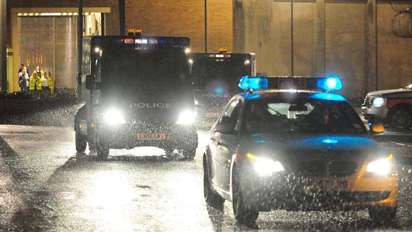 Police convoy leaving HMP Long Lartin to extradite me to the United States on 5 October 2012. Photo copyright of ITV.com.