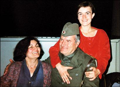 General Mladic with his daughter, Ana, in red, and wife