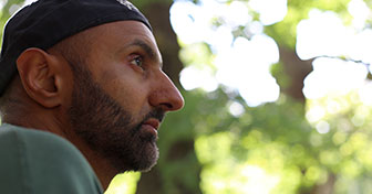 Babar Ahmad in Sherwood Forest, Nottingham, UK, on 19 July 2015, six days after his release from prison