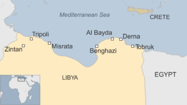 Map showing Bayda, eastern Libya