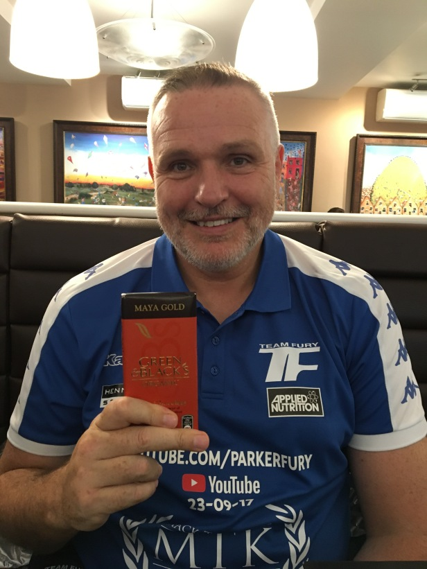 Peter Fury holding the Green and Blacks Maya Gold organic chocolate bar that I gifted him on 18 Sept 2017 (c) Babar Ahmad