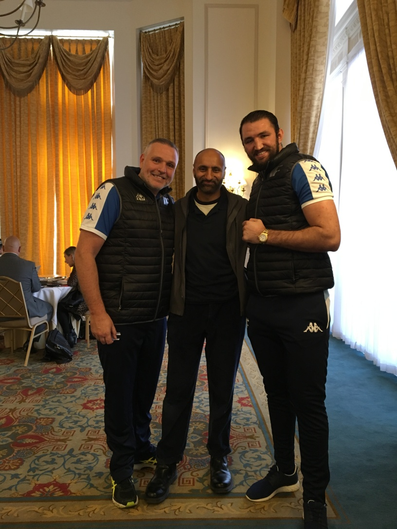 Peter Fury (left), Babar Ahmad (centre), Hughie Fury (right), The Landmark Hotel, London, 18 Sept 2017 (c) Babar Ahmad