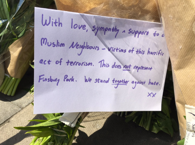 Message left outside Finsbury Park Mosque in wake of terrorist attack