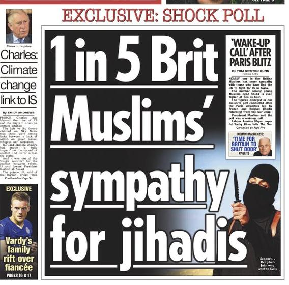 The Sun front page from 23 Nov 2015, later admitted by The Sun to be