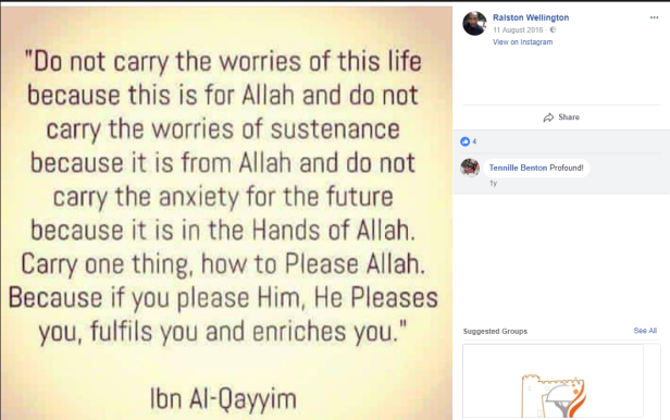 Ralston Wellington Ibn Al Qayyim quote screenshot