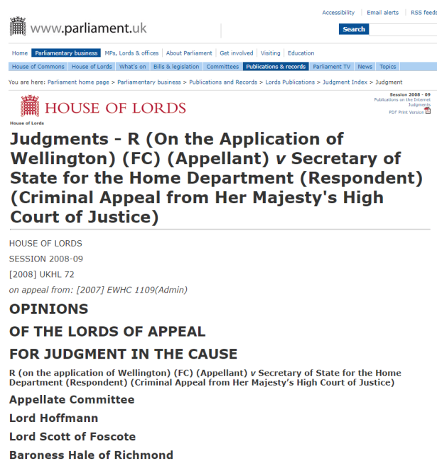 Wellington House of Lords ruling