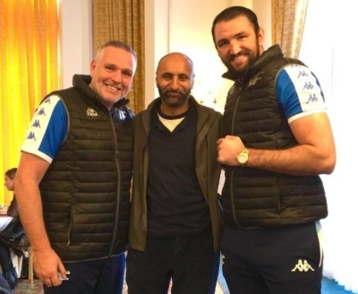 Peter Fury (left), Babar Ahmad (centre), Hughie Fury (right), The Landmark Hotel, London, 18 September 2017