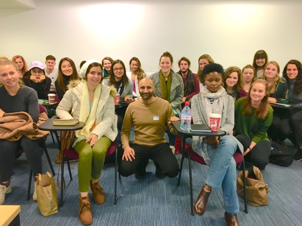Babar Ahmad with students from MSc War and Psychiatry, Kings College London, 04 December 2018